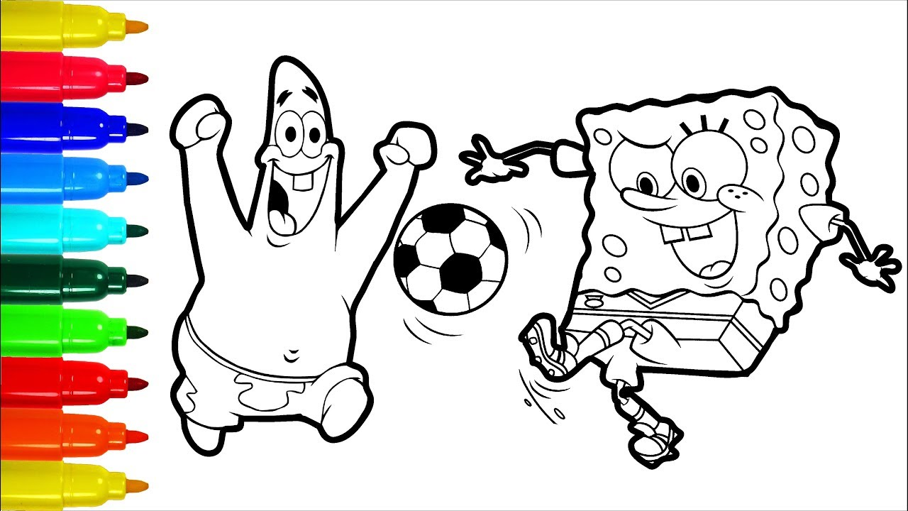 SpongeBob Patrick Football Coloring Pages Colouring Pages for Kids