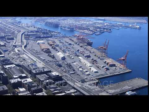 Seattle, Washington port shipping operation 4K