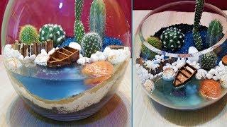 DIY terrarium with Boat in sea