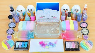 PASTEL SLIME Mixing makeup and glitter into Clear Slime Satisfying Slime Videos