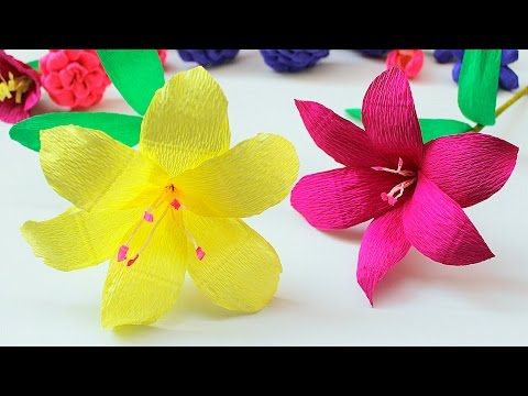 How to make Lily Paper Flower 2017 ( Very Easy ) - DIY Paper Crafts