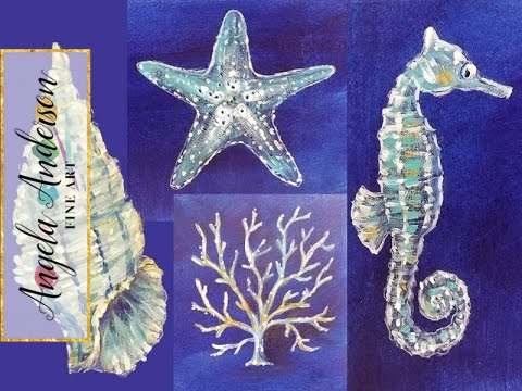 Nautical Acrylic Canvas: Coral Seashell Starfish & Seahorse Sea Life   Live Painting Lesson