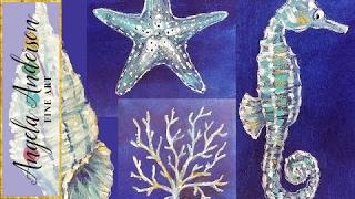 Nautical Acrylic Canvas: Coral Seashell Starfish & Seahorse Sea Life | Live Painting Lesson