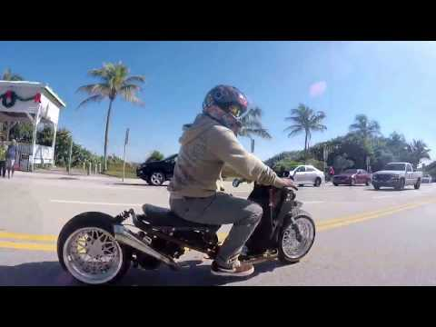 "A1A ride with wifey and our Dorbyworks custom Honda Ruckus. ""Laid Low and ""Frosty."