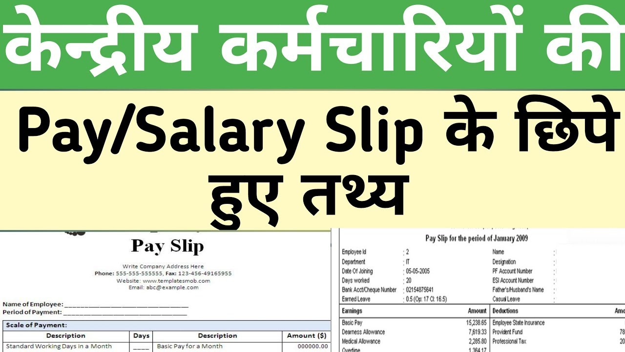 Salary/Pay Slip से जुड़े Hidden Features, Govt Employees News  Employees Salary Slip