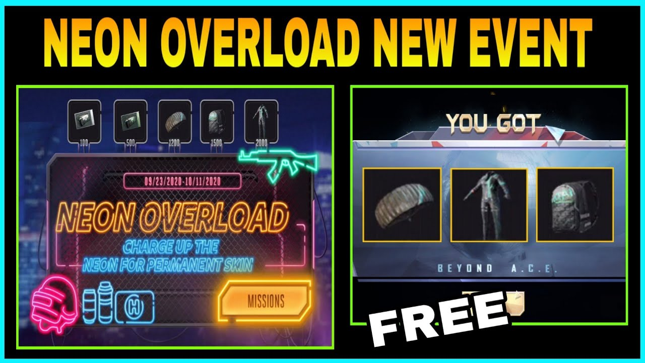 NEON OVERLOAD NEW EVENT IN PUBG MOBILE || GET PERMANENT NEON SET, BAGPACK & PARACHUTE SKIN ||