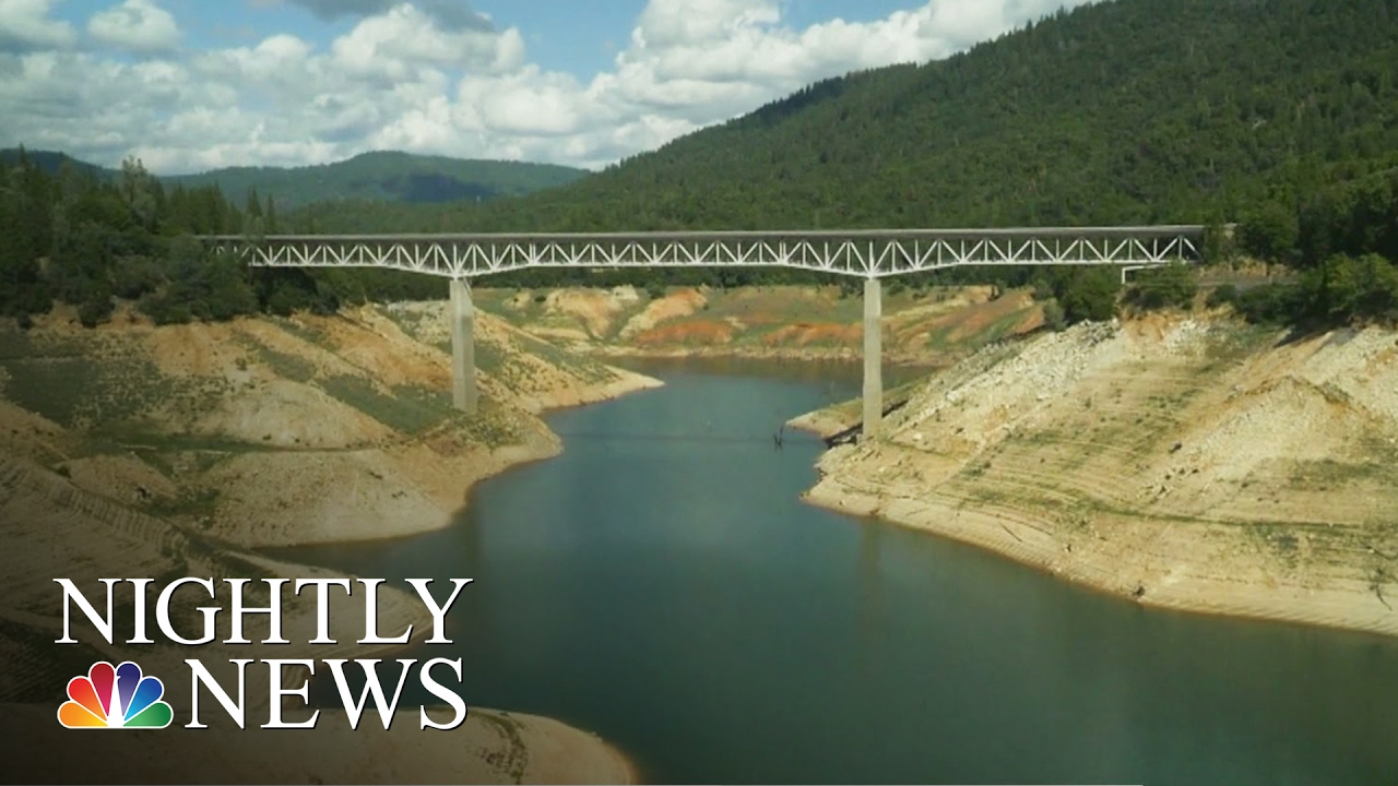 California Drought Reveals Drying Lake Oroville: Drone Footage | NBC  Nightly News
