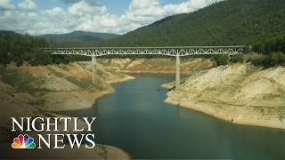 california drought reveals drying lake oroville drone footage   nbc nightly news