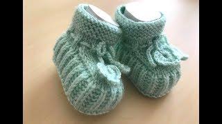 bebek patiği yapılışı ( iki şiş ile) kolay bebek patiği