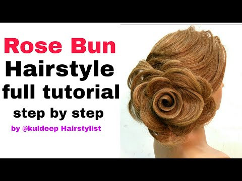rose/bun/Hairstyle |step by step|tutoria | international Hairstyle | video by @kuldeep_hairstylist