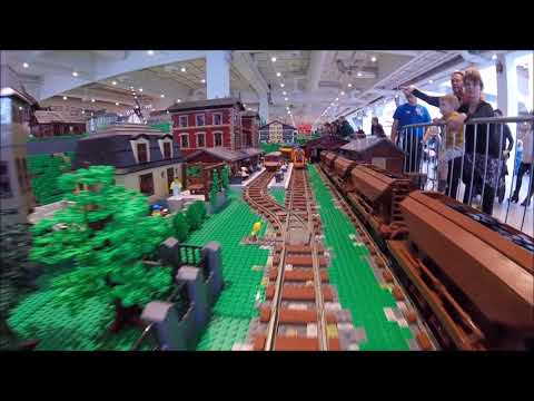 Massive LEGO City 200m Train track layout at Lego World Copenhagen 2018