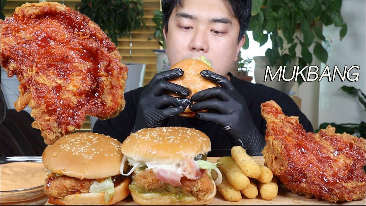 맘스터치 체다홀릭버거 & 치즈스틱 & 네슈빌핫통다리치킨 먹방ASMR MUKBANG Cheddar cheese chicken burger, Hot chicken EATING SHOW