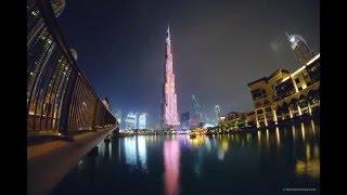The Burj Khalifa LED Light Show 2016 Time lapse