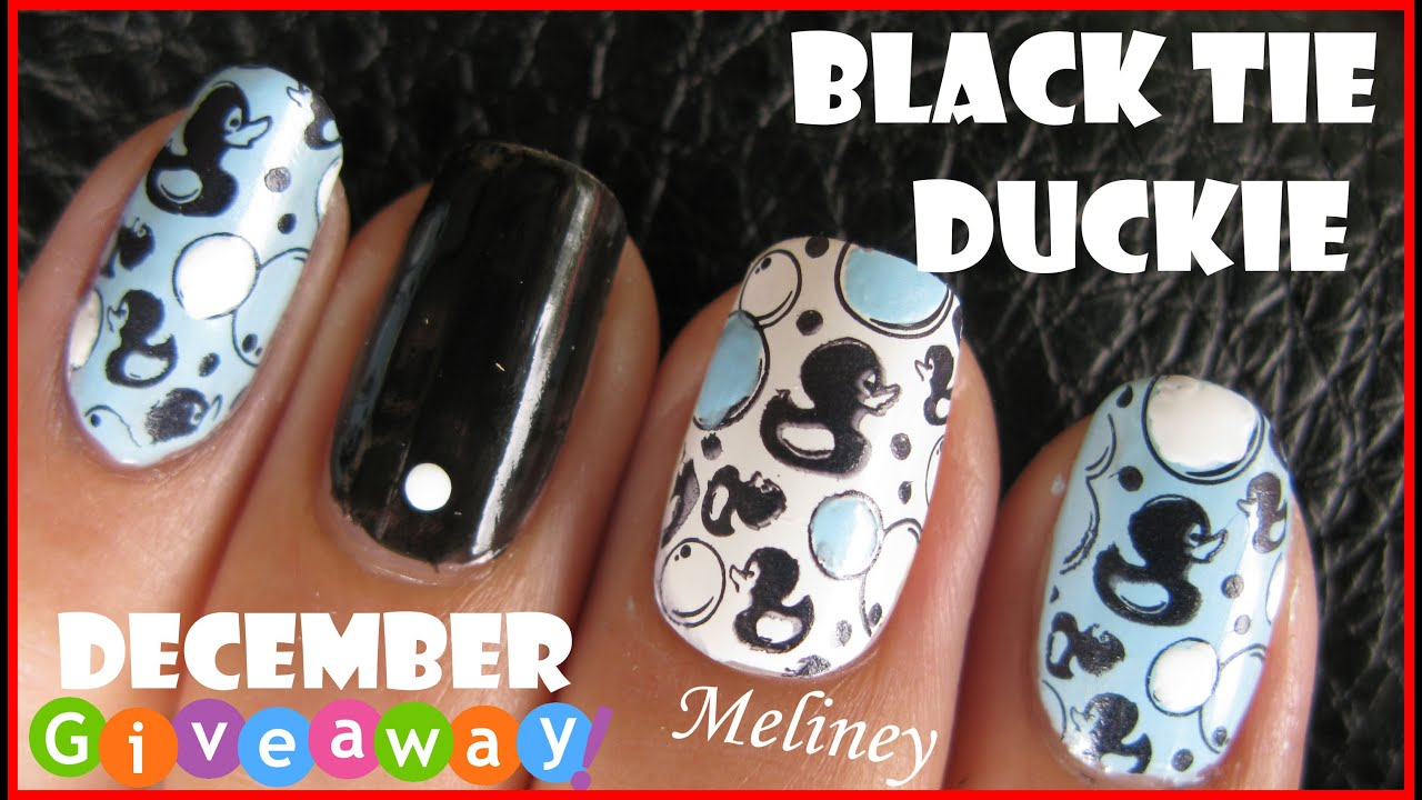 Konad Square Image Plate 8 Black Tie Duckie Stamping Nail Art Design