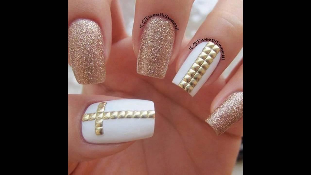 Diseños de Uñas decoradas blancas con dorado - YouTube