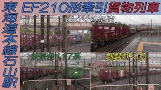 EF210形牽引貨物がのっそり動き始めたその時に抹茶色が!そして何かがくる?東海道本線石山駅