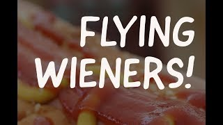 Flying hot dog hits woman in the face — attack wieners!