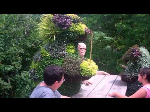 Chatting up the topiary.