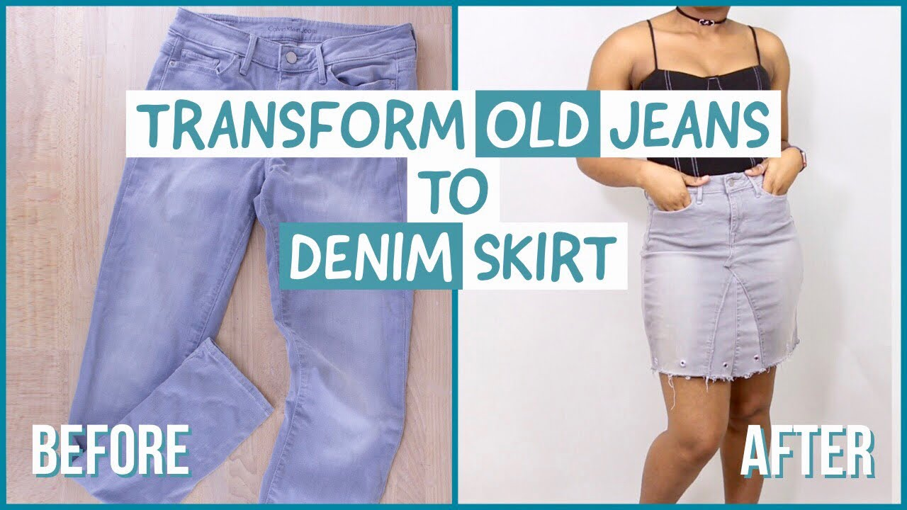 af6696847b1 DIY Upcycled Old Jeans to Skirt - YouTube