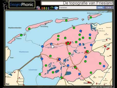 Steden en dorpen van de provincie Friesland, topografie,Leeuwarden,Drachten,Grou,Franeker,Sneek