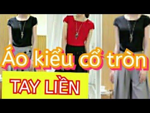 Hướng dẫn cắt may cơ bản tại nhà áo thun nữ cổ tròn tay liền croptop nữ/Dạy cắt may áo nữ kiểu đẹp