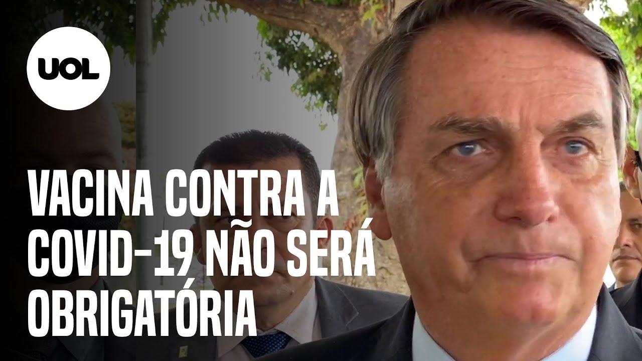 """Bolsonaro diz que vacina contra covid-19 """"não será obrigatória, e ponto  final"""" - YouTube"""