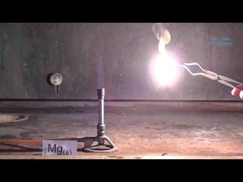 Burning Magnesium Ribbon (Mg + O2 = MgO)