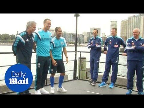 Jose Mourinho, John Terry and Eden Hazard pose in Sydney. - Daily Mail