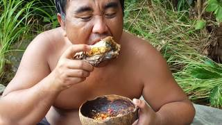 Primitive Technology - find a fish cook eating delicious  - cooking fish eating delicious