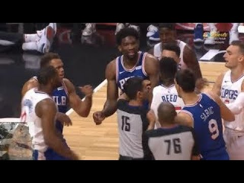 "Willie Reed and Joel Embiid Fight!Embiid saying ""HE CANT FUCKIN GUARD ME!"""