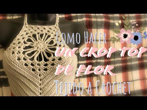 Como Hacer un Crop Top de Flor !    Crochet para Principiantes
