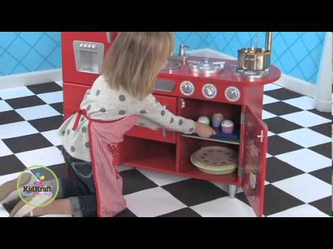 KidKraft Red Vintage Kitchen 53173 - YouTube