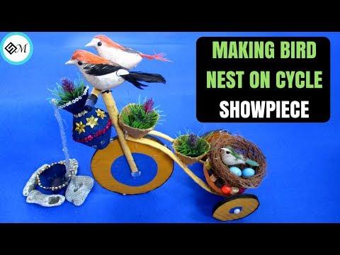 Making Bird Nest On Cycle | Showpiece | DIY Crafts