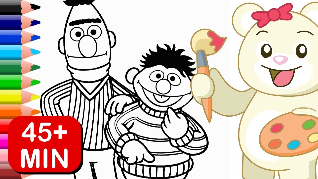 Bert And Ernie Sesame Street Coloring Pages Kids Learn Colors Youtube
