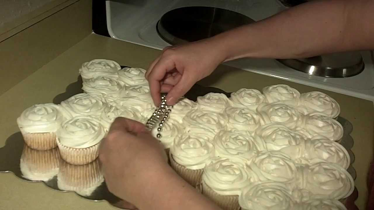 Wedding Dress Cupcake Cake Part 2   YouTube Wedding Dress Cupcake Cake Part 2