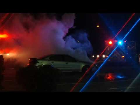 Fire fighters put out car fire Attleboro Ma