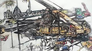 When Seattle Art Museum's Hammering man fell,  an on-site drawing © A K Segan