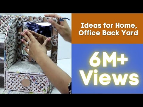 How to Make Dressing Table, Vanity Table, DIY Desk Organizer from  Cardboard & Newspaper