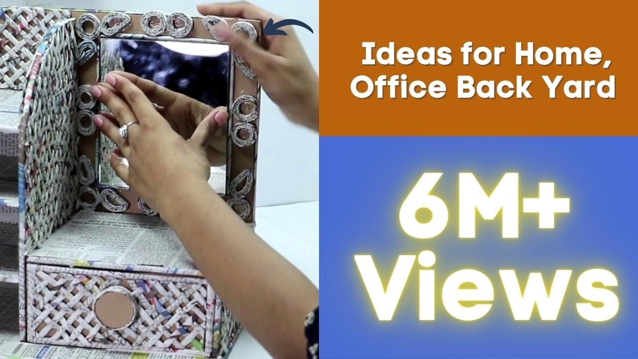 How To Make Dressing Table, Vanity Table, DIY Desk Organizer From Cardboard  U0026 Newspaper