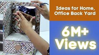 How to Make Dressing Table, Vanity Table, DIY Desk Organizer from  Cardboard & Newspaper