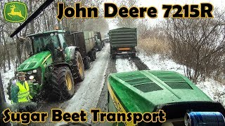 Sugar Beet Transport - CAB VIEW - John Deere 7215R - Snow - JD Power