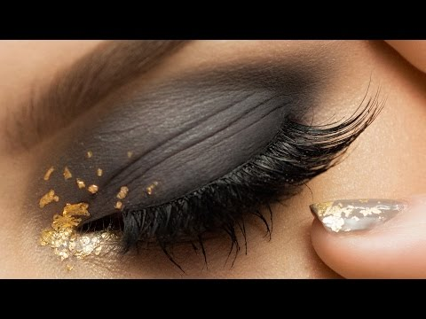 Smokey Eye With Gold Leaf Makeup