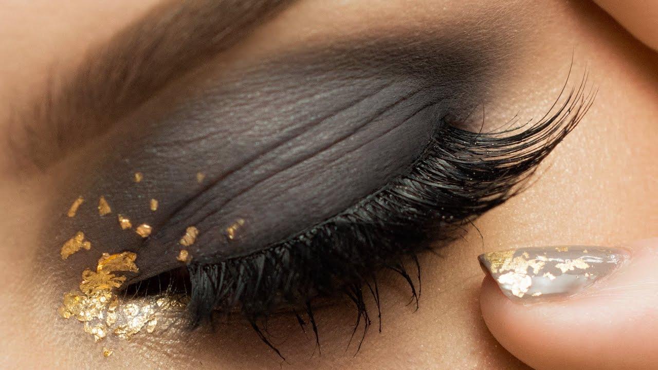 Smokey Eye With Gold Leaf Makeup Youtube