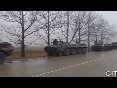 Ukraine War - Ukrainian road police stops Russian troops convoy in Crimea Ukraine