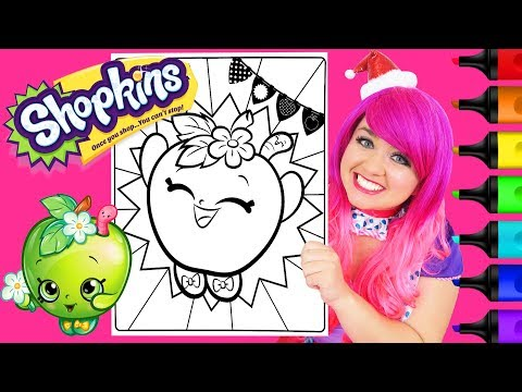Coloring Shopkins Apple Blossom Coloring Page Prismacolor Colored Paint Markers | KiMMi THE CLOWN