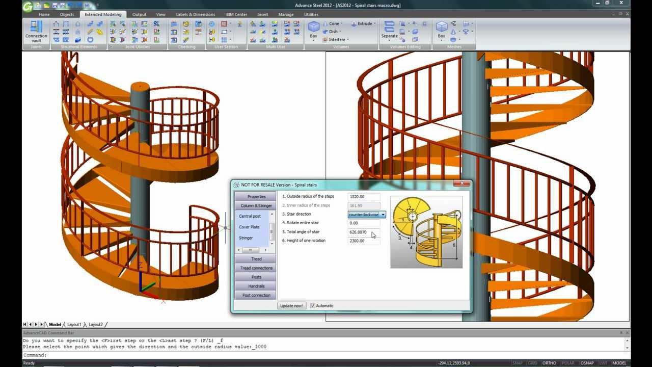 advance steel 2012 macro escalier h lico dal youtube. Black Bedroom Furniture Sets. Home Design Ideas