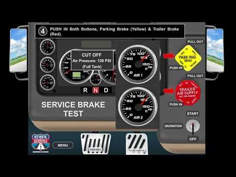 Service Brake Test - Air Brake Check - Pre-Trip Inspection - CDL Class A