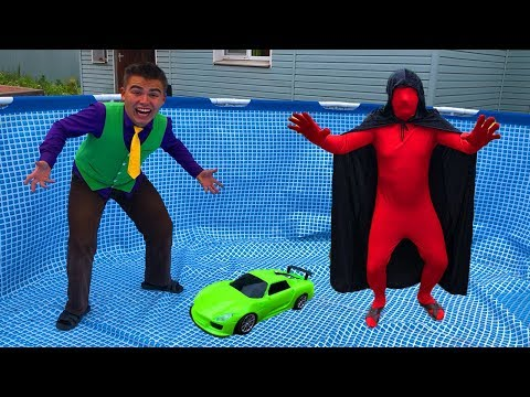 Mr. Joe on Lamborghini TELEPORTED into an Empty Pool without Water VS Wizard Red Man for Kids