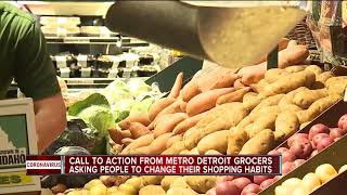 Grocery store worker asks people to change their shopping habits