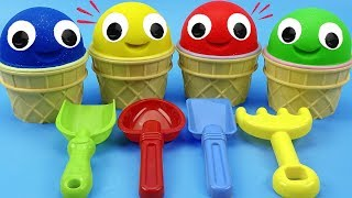 4 Colors Play Doh Ice Cream Cups Surprise Toys Chupa Chups Trolls LOL Shopkins Kinder Surprise Eggs